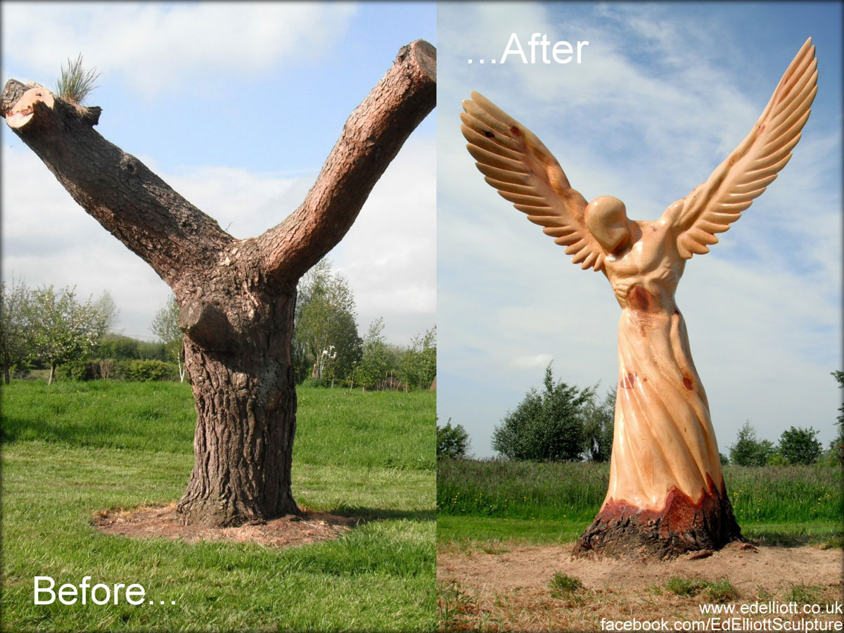 Before and after by Ed Elliott — with Ed Elliott Sculpture.