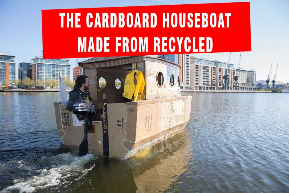 The cardboard houseboat made from recycled